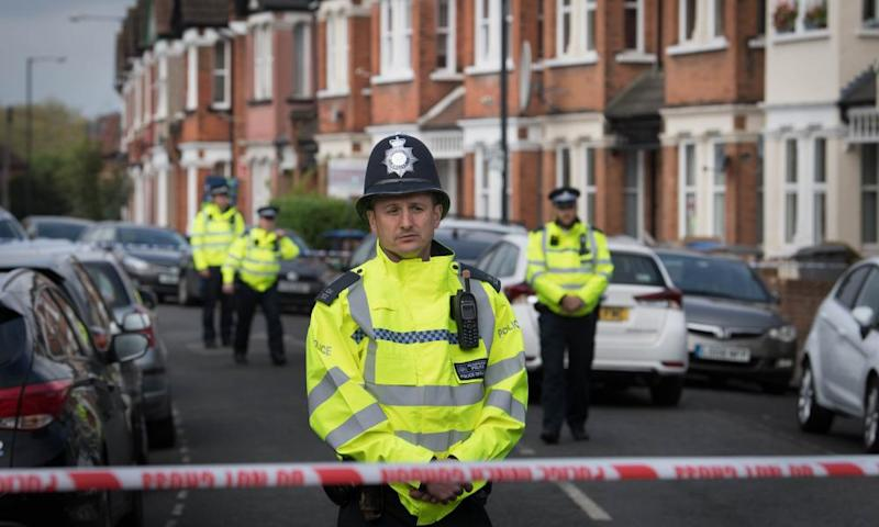 Police at the scene in Harlesden Road following the counter-terrorism operation last Thursday.