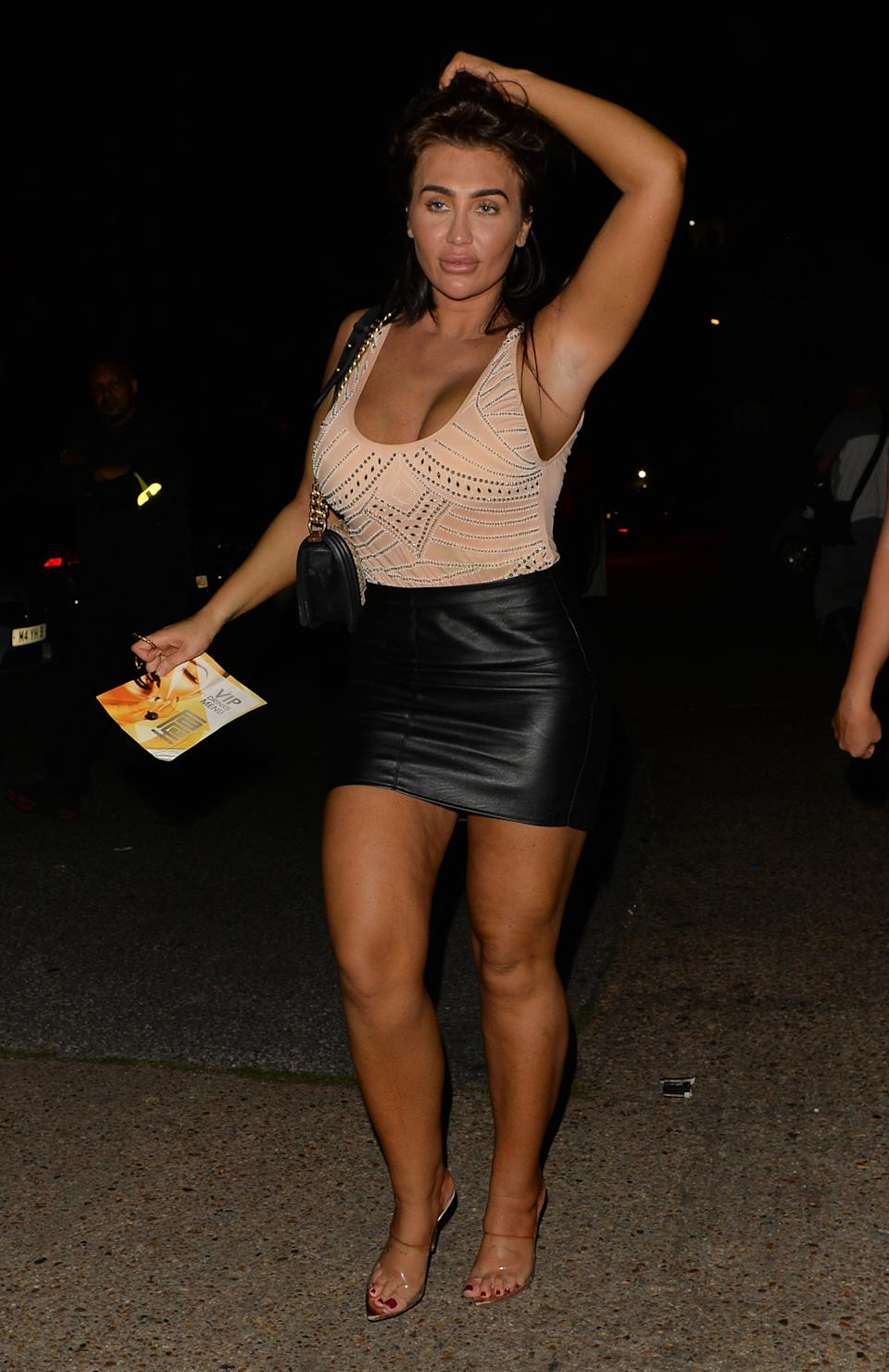 LONDON, UNITED KINGDOM - AUG 04: Lauren Goodger seen leaving faces night club with her sisters on August 04, 2018 in London, England.  PHOTOGRAPH BY Eagle Lee / Barcroft Images (Photo credit should read PALACE LEE / Barcroft Media via Getty Images)