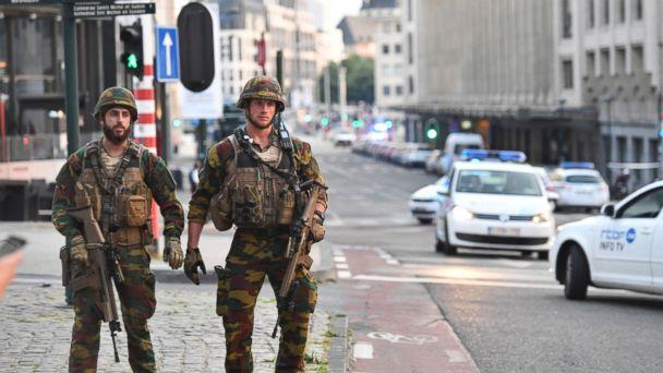 PHOTO: Belgian Army soldiers patrol outside Central Station after a reported explosion in Brussels on Tuesday, June 20, 2017. (Geert Vanden Wijngaert/AP)