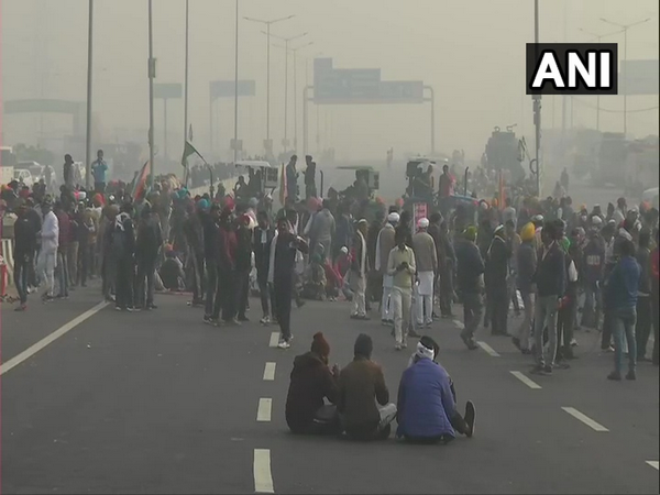 A visual from farmers' protest at Gazipur border. Photo/ANI