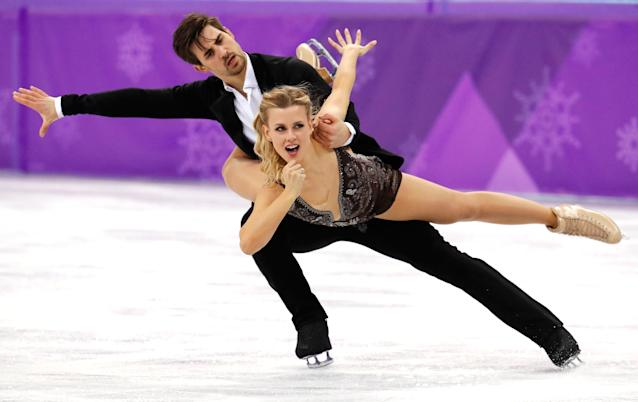 <p>Madison Hubbell and Zachary Donohue of the United States perform during the ice dance, free dance figure skating final in the Gangneung Ice Arena at the 2018 Winter Olympics in Gangneung, South Korea, Tuesday, Feb. 20, 2018. (AP Photo/Aaron Favila) </p>