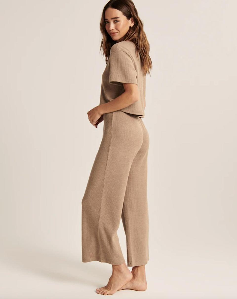 <p>You may think these <span>Abercrombie Waffle Lounge Wide Leg Pants</span> ($49) are just for staying home, but you can absolutely style them with a fitted top and mules for a dinner date.</p>