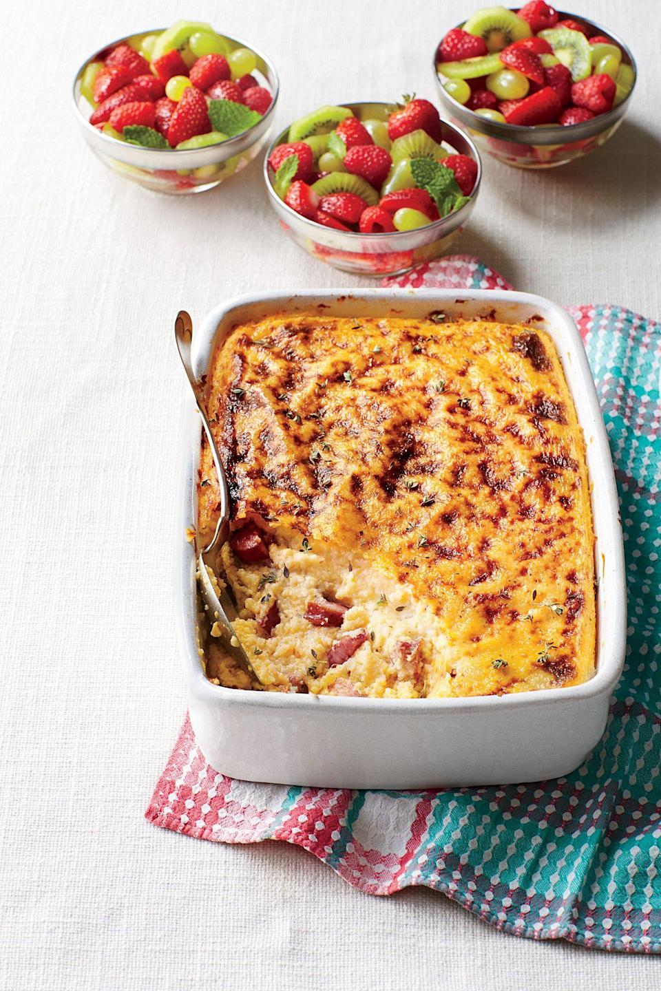 """<p><strong>Recipe: <a href=""""https://www.southernliving.com/syndication/smoky-sausage-grits-casserole"""" rel=""""nofollow noopener"""" target=""""_blank"""" data-ylk=""""slk:Smoky Sausage-and-Grits Casserole"""" class=""""link rapid-noclick-resp"""">Smoky Sausage-and-Grits Casserole</a></strong></p> <p>This casserole can be stored in the refrigerator for up to four days before it's cooked. </p>"""