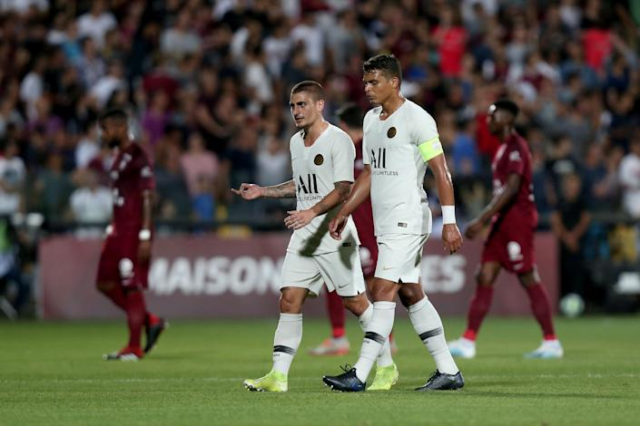 A match between Paris Saint-Germain and Metz was halted for a few minutes Friday. (Photo by TF-Images/Getty Images)