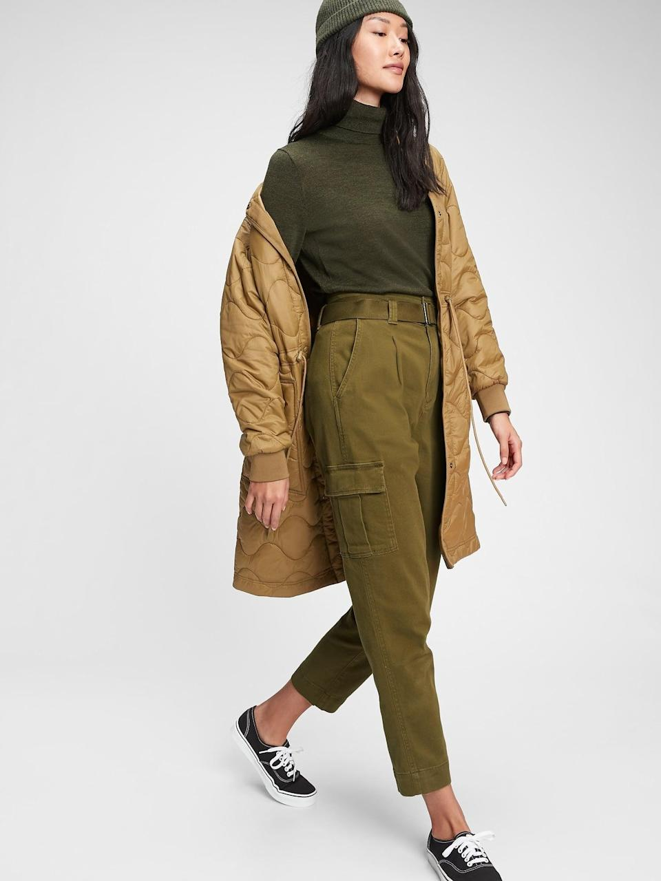 <p>If you're looking for a cool cargo-inspired pair, get these <span>Gap High Rise Belted Khaki Pants</span> ($44, originally $70).</p>