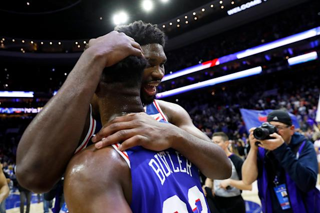 The 76ers picked up their first win over the Celtics this season. (AP)