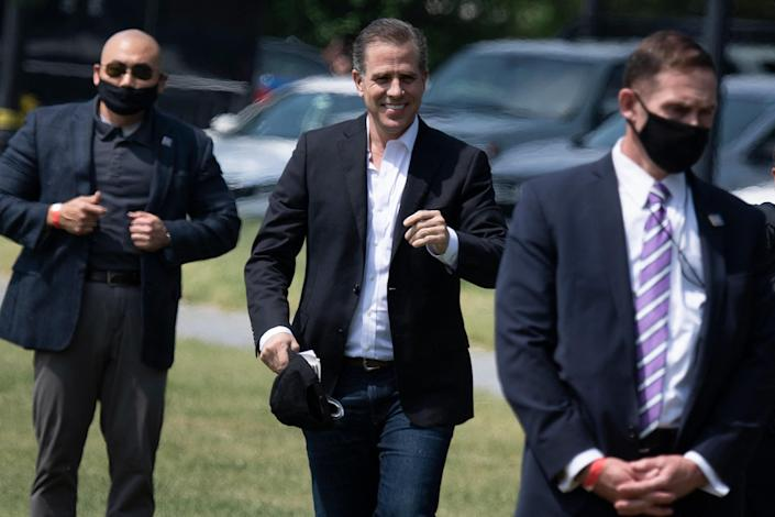 Hunter Biden walks to Marine One on the Ellipse outside the White House May 22, 2021, in Washington, D.C. / Credit: BRENDAN SMIALOWSKI/AFP via Getty Images