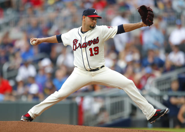 Atlanta Braves starting pitcher Anibal Sanchez (19) delivers in the first inning of a baseball game against the Colorado Rockies, Sunday, Aug. 19, 2018, in Atlanta. (AP Photo/Todd Kirkland)