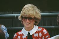<p>Princess Diana attended a polo match in June 1983 wearing Muir and Osborne's infamous 'black sheep' sweater paired with a wide Peter Pan collar and bow tie.</p>