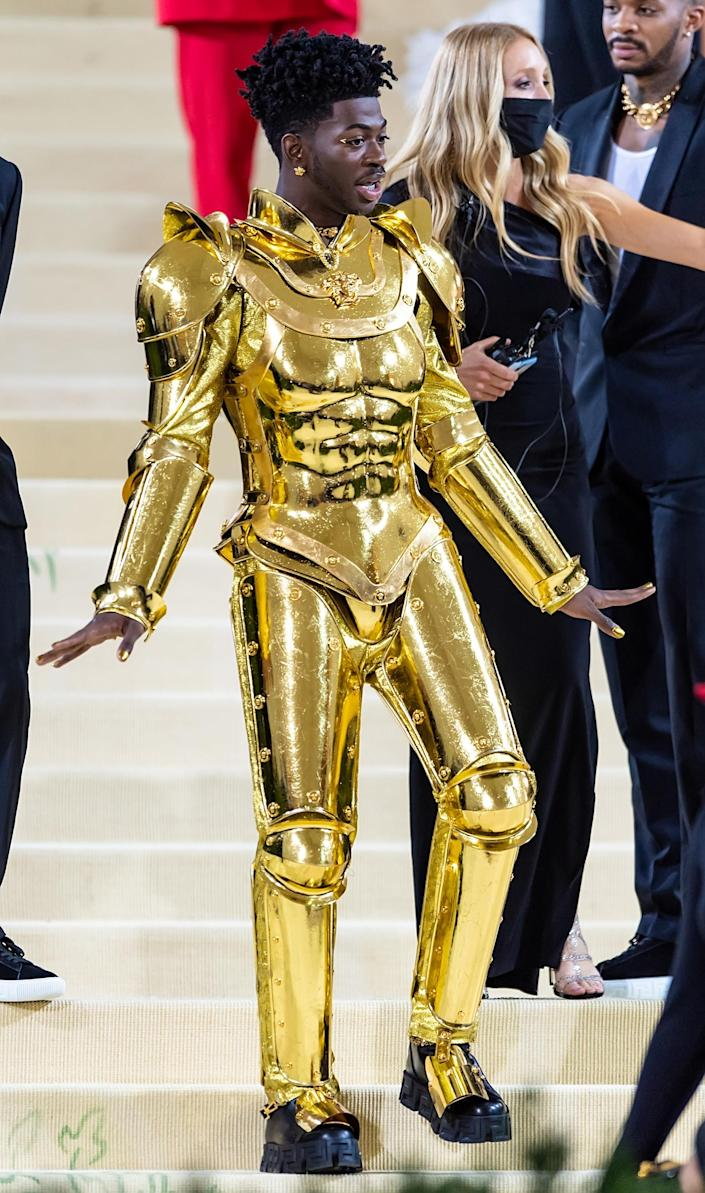 Lil Nas X at the 2021 Met Gala in suit of golden armor