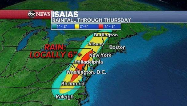 PHOTO: Where the torrential rain does fall, however, rainfall accumulations likely will reach four to six inches and will likely result in flash flooding and river flooding before tomorrow when Isaias will be gone. (ABC News)