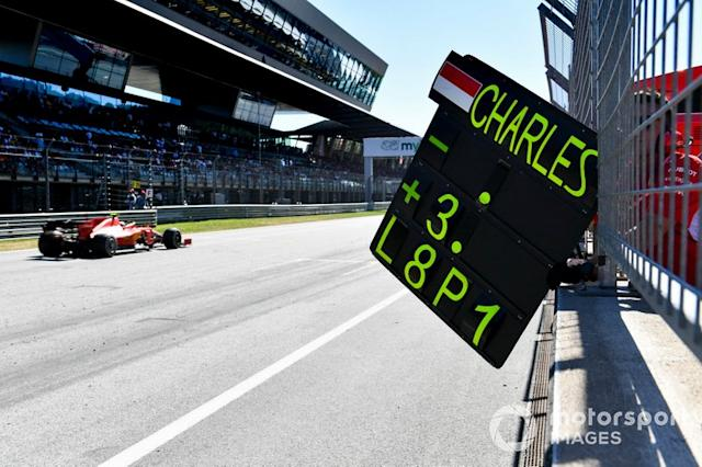 "Charles Leclerc, Ferrari SF90 pit board <span class=""copyright"">Mark Sutton / Motorsport Images</span>"