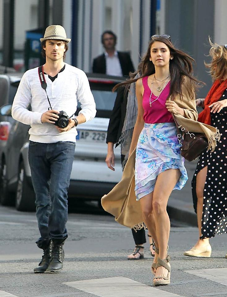 """""""The Vampire Diaries"""" stars Ian Somerhalder and Nina Dobrev spent some much needed downtime in Paris on Tuesday. The pretty pair shopped along the popular Rue de Rennes and grabbed a bite at a local bar. KCSPresse/<a href=""""http://www.splashnewsonline.com"""" target=""""new"""">Splash News</a> - May 24, 2011"""