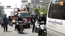 Funeral Procession for Kyal Sin, who was killed during protests on Wednesday, in Mandalay, Myanmar