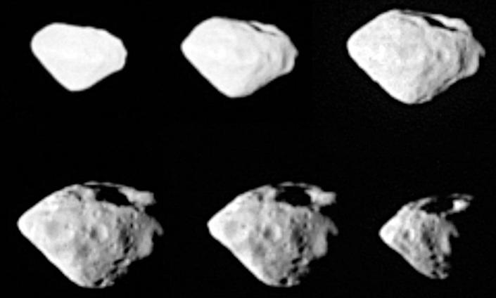 The 5-km-wide asteroid, Steins, photographed at 800 km. Scientists don't know how the asteroid survived the impact that left a 15-km crater.