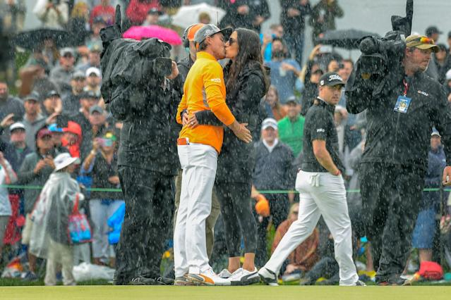 "<h1 class=""title"">rickie-fowler-allison-stokke-waste-management-2019-sunday-18th-green.jpg</h1> <div class=""caption""> Fowler shared a kiss in the rain with his fiancé, Allison Stokke, after clinching his fifth career PGA Tour title. </div> <cite class=""credit"">Tracy Wilcox/PGA Tour</cite>"