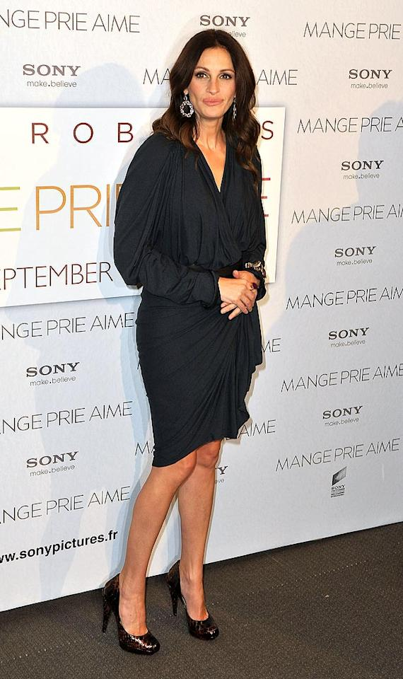 """At the Paris debut of her film """"Eat, Pray, Love,"""" Julia Roberts was quite the """"Pretty Woman"""" in a draped Lanvin dress cinched at the waist, which she smartly paired with snakeskin Lanvin heels and just a few sparkly jewels. Pascal Le Segretain/<a href=""""http://www.gettyimages.com/"""" target=""""new"""">GettyImages.com</a> - September 22, 2010"""