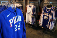 Philadelphia 76ers' Ben Simmons apparel is seen for sale before a preseason NBA basketball game against the Toronto Raptors, Thursday, Oct. 7, 2021, in Philadelphia. Ben Simmons was out of sight, out of mind and out of the team pregame hype video for the Philadelphia 76ers. The Sixers have largely stopped talking about the three-time All-Star guard. (AP Photo/Matt Slocum)