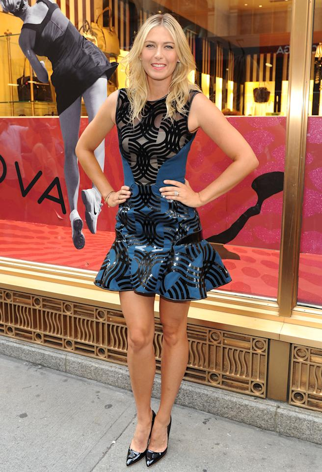 <b>Who:</b> Maria Sharapova<br /><br /><b>Wearing:</b> David Koma mini, black pumps<br /><br /><b>Where:</b> Sugarpova press event at Henri Bendel in NYC