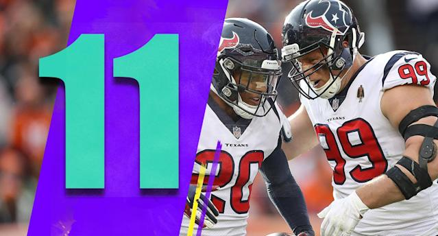 <p>Three times this season Houston has benefited in a very close game from an opposing coach's weird decision. Having other coaches screw up regularly certainly doesn't seem like a sustainable plan for the Texans, but it has gotten them to 6-3. (Justin Reid, J.J. Watt) </p>