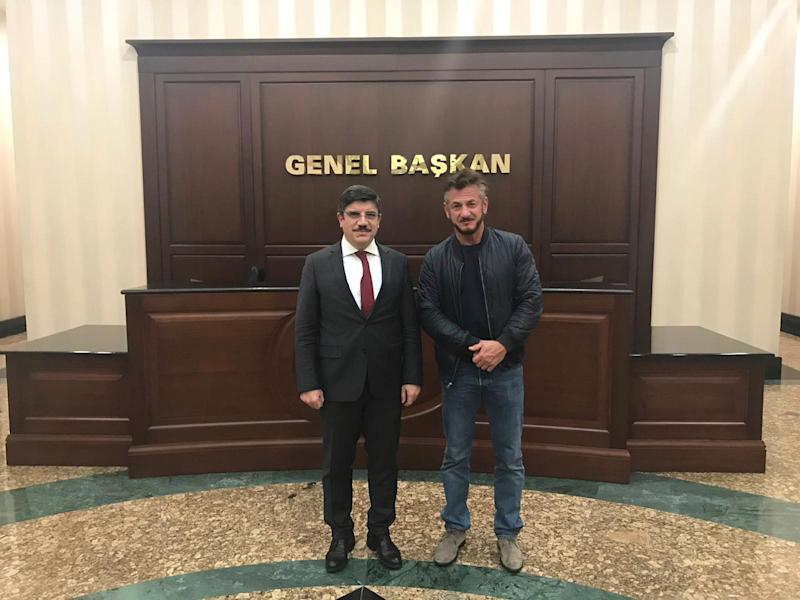 Yasin Aktay, an adviser to Turkey's President Recep Tayyip Erdogan, met with Sean Penn in Ankara, Turkey, on Dec. 5, 2018. Penn is working on a documentary about the slaying of Saudi journalist Jamal Khashoggi at the Saudi consulate on Oct. 2 in Istanbul.