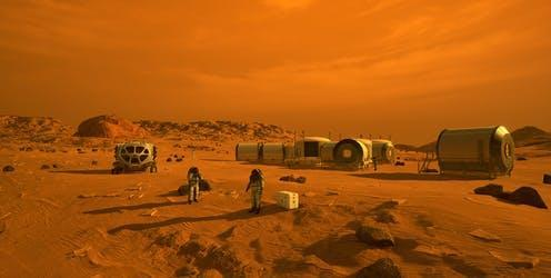 """<span class=""""caption"""">Artist's concept of astronauts and human habitats on Mars</span> <span class=""""attribution""""><a class=""""link rapid-noclick-resp"""" href=""""https://www.jpl.nasa.gov/spaceimages/details.php?id=PIA23302"""" rel=""""nofollow noopener"""" target=""""_blank"""" data-ylk=""""slk:NASA"""">NASA</a></span>"""