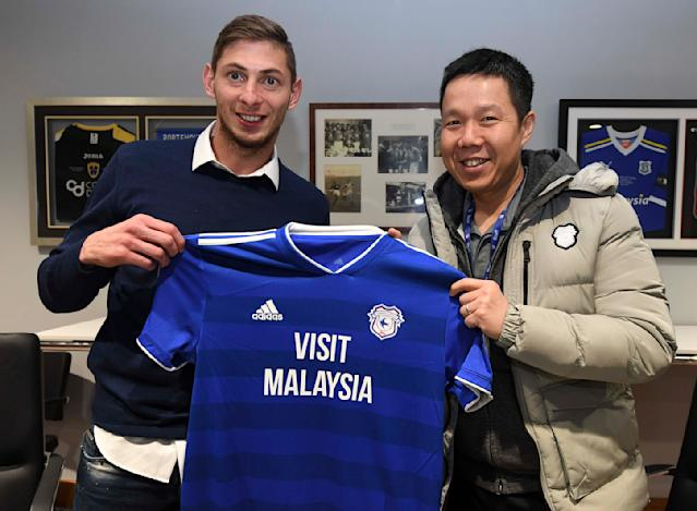 Emiliano Sala was unveiled as Cardiff's record signing on Saturday (Getty)