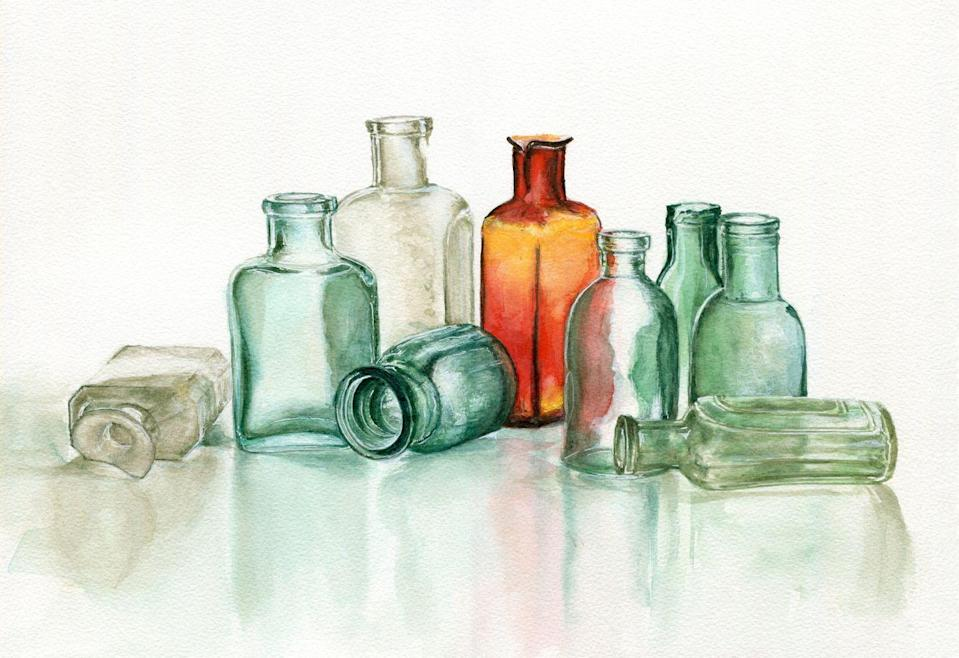 """<p>We're talking more apothecary and perfume bottles than wine bottles here, though those might be a more common basement find. Antique bottles, especially if they're in rarer colors like purple and gold, can go for <a href=""""https://www.msn.com/en-us/money/finance-savemoney/surprisingly-valuable-junk-you-might-have-at-home/ss-BBW4qG8#image=16"""" rel=""""nofollow noopener"""" target=""""_blank"""" data-ylk=""""slk:hundreds of dollars"""" class=""""link rapid-noclick-resp"""">hundreds of dollars</a>, so check them before you chuck them.</p>"""