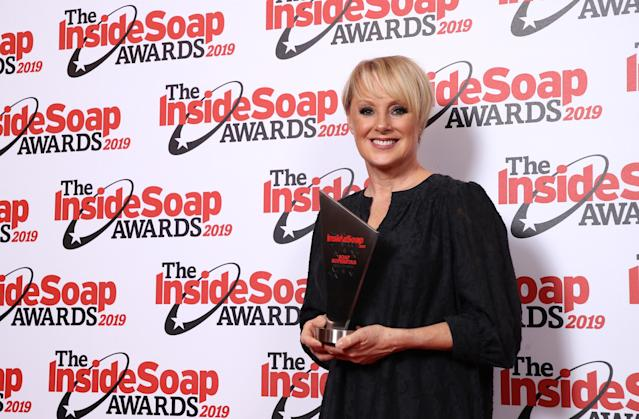 Sally Dynevor attends the Inside Soap Awards at Sway on October 07, 2019 in London, England. (Photo by Mike Marsland/WireImage)