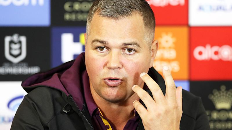 Anthony Seibold, pictured here speaking to the media after a Brisbane Broncos game.