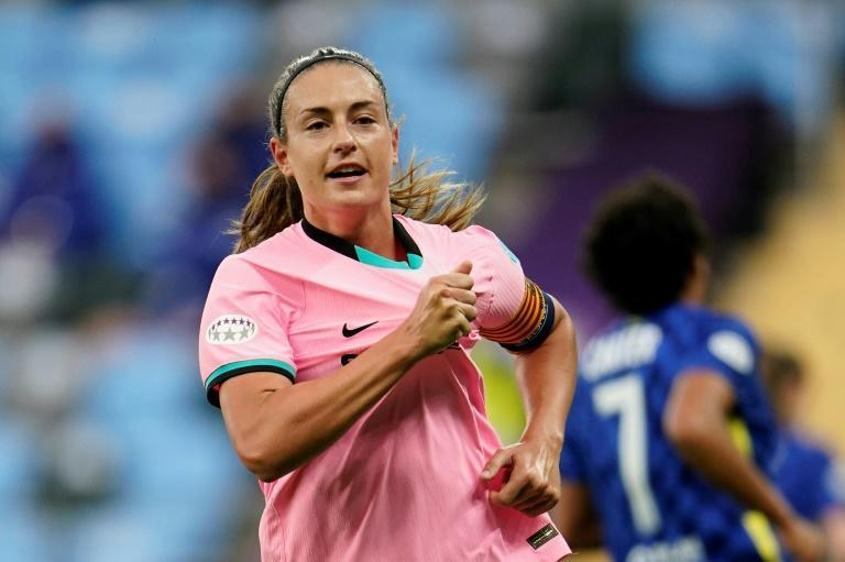 Spot on: Alexia Putellas scored Barcelona's second goal from the penalty spot in a 4-0 win over Chelsea in the women's Champions League final
