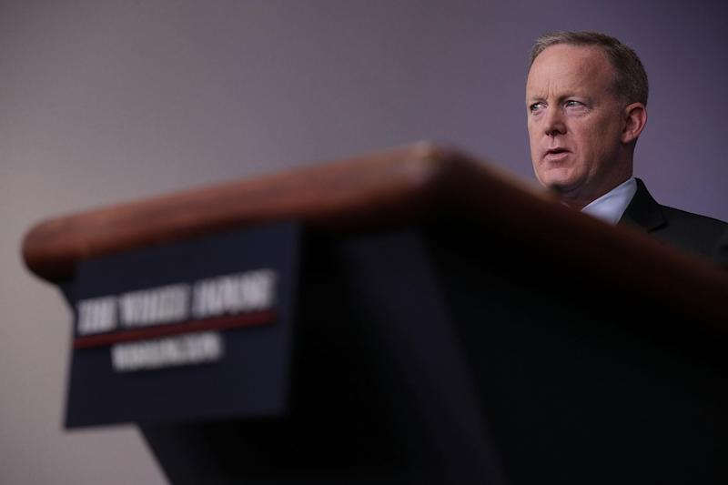 Spicer didn't take a single question from the White House press corps: Getty / Alex Wong