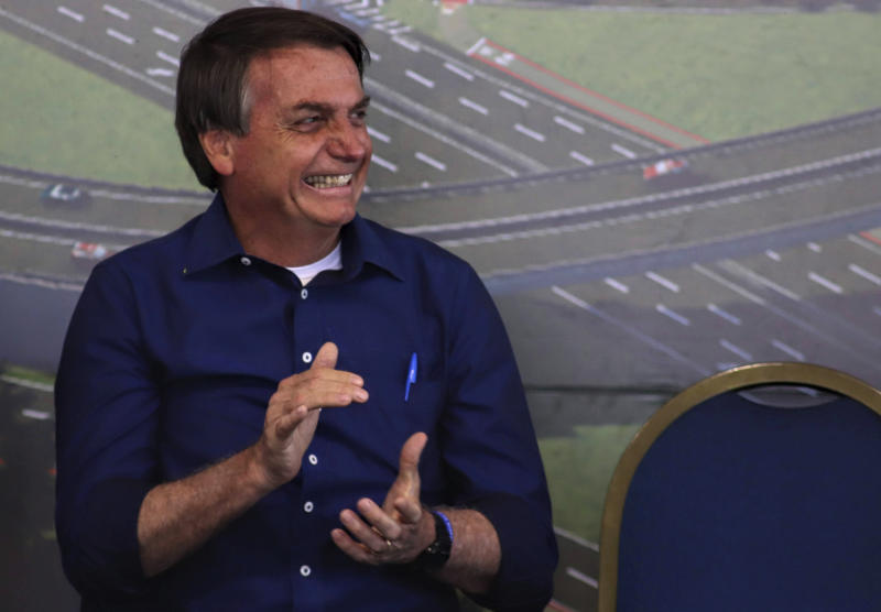 President Jair Bolsonaro was in Foz do Iguaçu and fulfilled an agenda that began at 9 am with a visit to the works at Foz do Iguaçu International Airport, followed by the Launching Ceremony of the Foundation Stone for the Duplication of BR-469, which connects the center of Foz do iguaçu to Iguaçu National Park where the Iguaçu Falls are located in Foz do Iguacu, Brazil on August 27, 2020. (Photo: Christian Rizzi/Fotoarena/Sipa USA)(Sipa via AP Images)