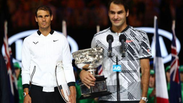 Nadal and Federer at the Australian Open. Image: Getty