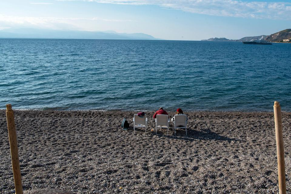 A nearly empty beach during the second lockdown of the country on November 12, 2020 in Loutraski, Greece. The country this week extended a lockdown and tightened restrictions in more areas. (Photo: Milos Bicanski/Getty Images)