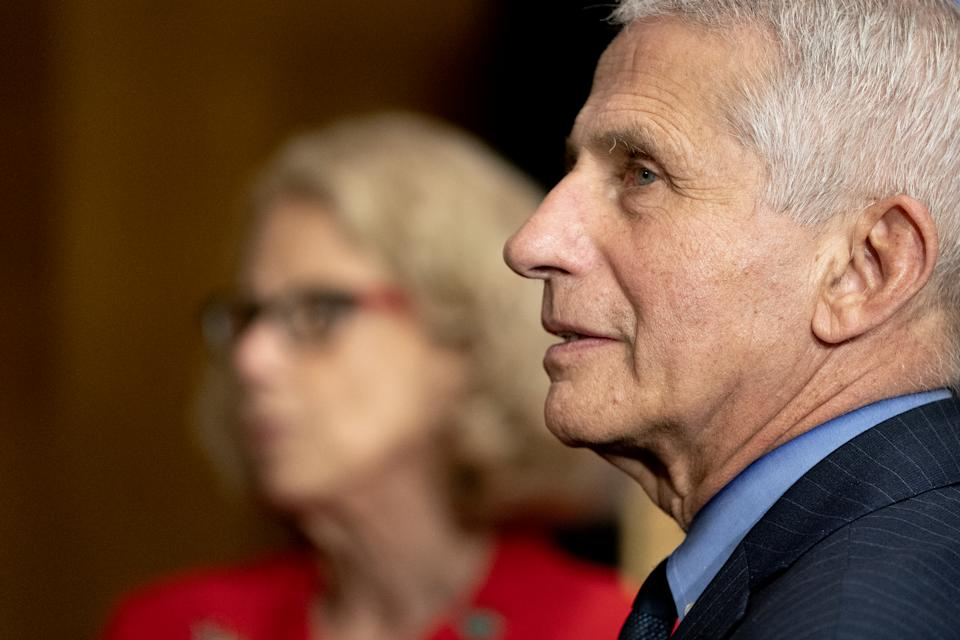 Anthony Fauci, director of the National Institute of Allergy and Infectious Diseases, right, and Diana Bianchi, director of the Eunice Kennedy Shriver National Institute of Child Health and Human Development, speak following a Senate Appropriations Subcommittee hearing in Washington, D.C., U.S., on Wednesday, May 26, 2021. (Stefani Reynolds/Bloomberg via Getty Images)