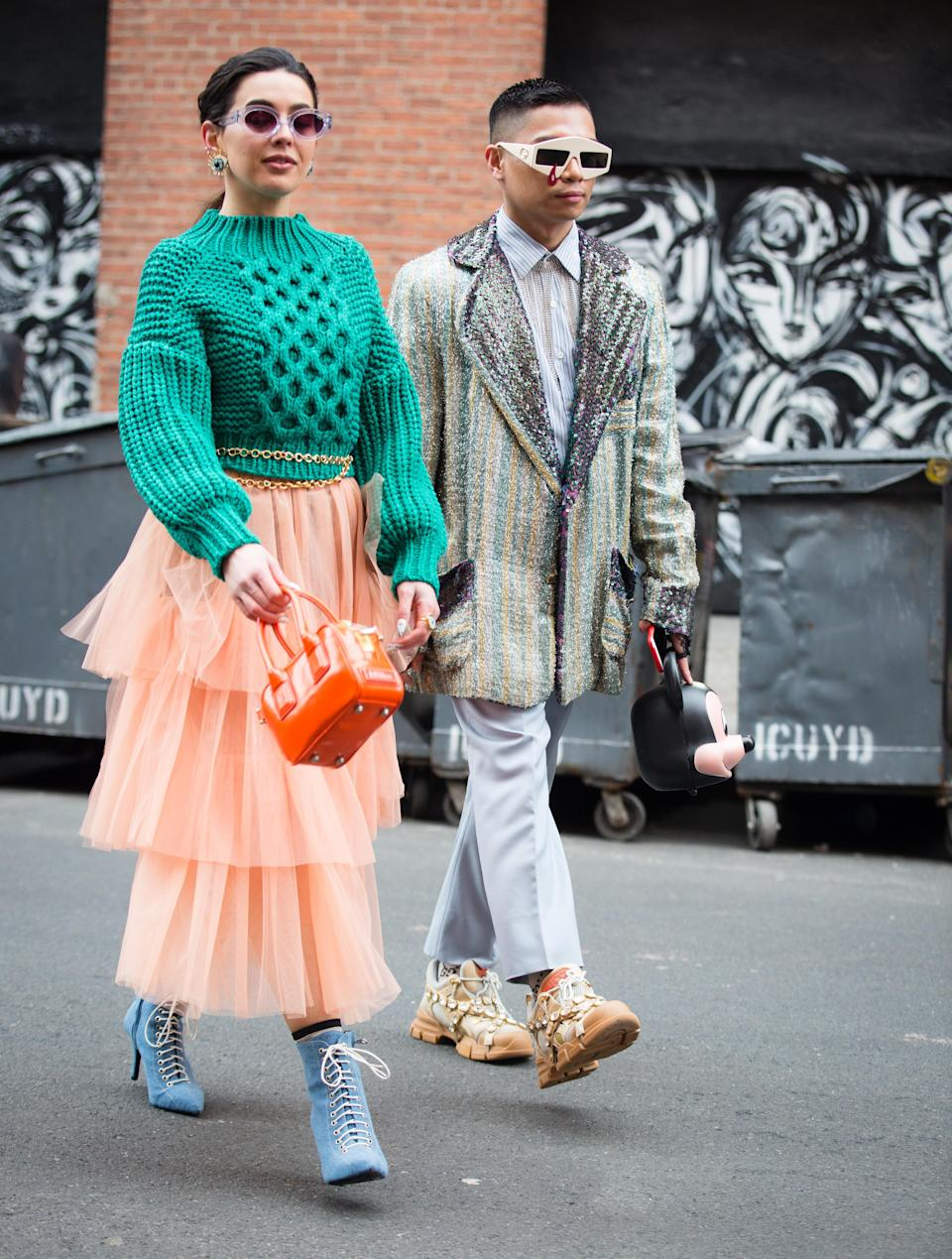 <p>Guests pose outside the Tibi show during New York Fashion Week.<em> [Photo: Getty]</em> </p>