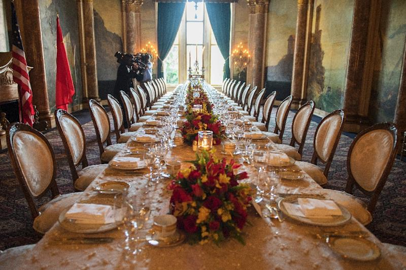 The table setting for US President Donald Trump and Chinese President Xi Jinping's dinner at the Mar-a-Lago estate in West Palm Beach, Florida, on April 6, 2017