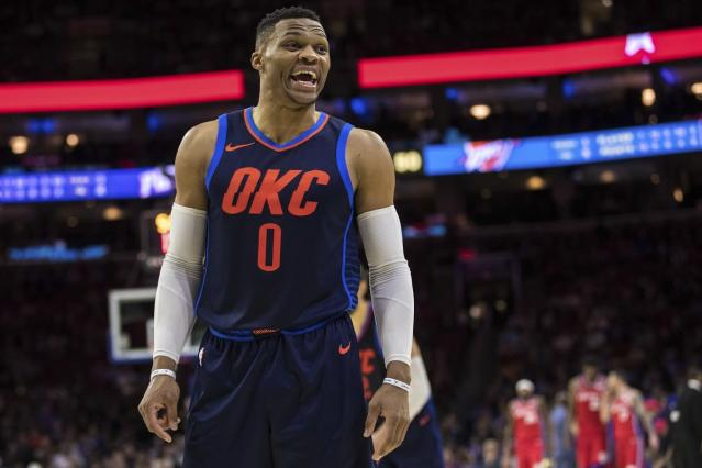 "<a class=""link rapid-noclick-resp"" href=""/nba/players/4390/"" data-ylk=""slk:Russell Westbrook"">Russell Westbrook</a> led the Thunder to their fifth straight win on Monday. (AP)"
