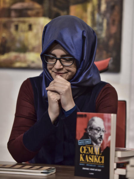 Hatice Cengiz, the fiancee of slain Saudi journalist Jamal Khashoggi, speaks during a news conference to launch a book about the journalist, in Istanbul, Friday, Feb. 8, 2019. Cengiz says she hopeful that his killers will be punished and has appealed to legislators in the European Union and the U.S. Congress to closely follow the case. (DHA via AP)