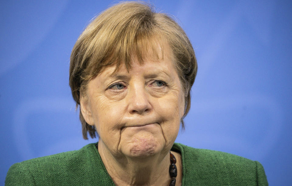 German Chancellor Angela Merkel said her country was in a 'very serious situation' as leaders agreed a one month extension to national restrictions. Photo: Michael Kappeler/AP