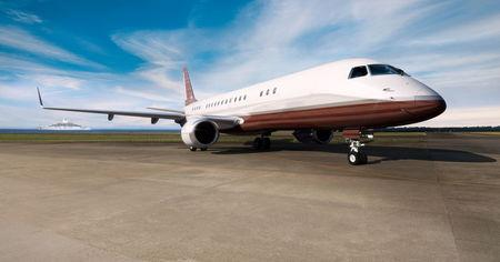 An exterior view of the Skyacht model of Embraer S.A. Aerospace company's private jet lineage is shown in this undated photo provided October 11, 2017.  Courtesy Embraer S.A./Handout via REUTERS