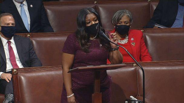 PHOTO: Newly elected Rep. Cori Bush speaks during the impeachment debate on the House floor, Jan. 13, 2021, at the U.S. Capitol. (ABC News)
