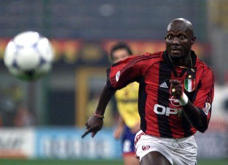 FILE PHOTO: A.C.Milan striker George Weah in action during A.C. Milan vs Bologna in their Italian serie A soccer match at Meazza stadium, Milan