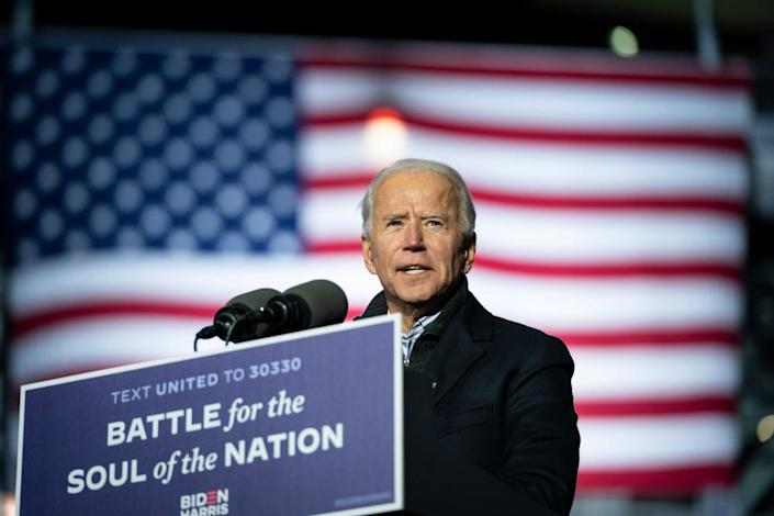 Joe Biden speaks during a drive-in campaign rally at in Pittsburgh, Pennsylvania, on Monday.