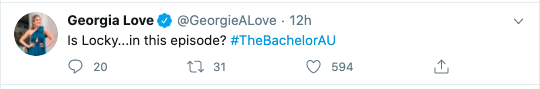 Georgia Love tweets about The Bachelor