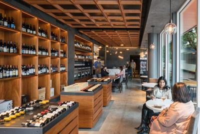 Pullman Wine Bar & Merchant sells wine by the bottle and by the glass.