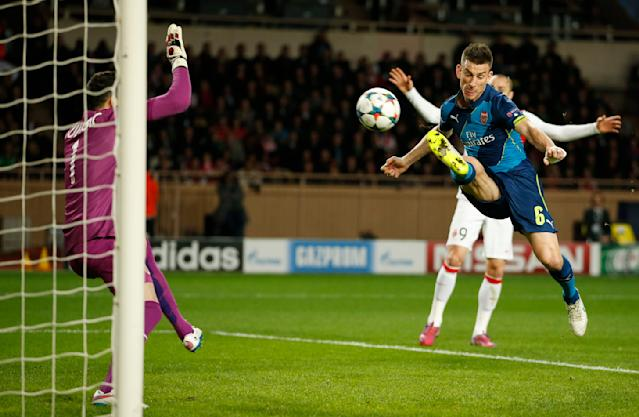 Football - AS Monaco v Arsenal - UEFA Champions League Second Round Second Leg - Stade Louis II, Monaco - 17/3/15 Arsenal's Laurent Koscielny misses a chance to score Action Images via Reuters / John Sibley Livepic EDITORIAL USE ONLY.