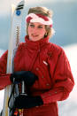 <p>Even on a skiing holiday, the Princess of Wales was not one to forget to accessorise. Here, Diana opted for a colour-block headpiece to keep her fringe in place.<br><em>[Photo: PA]</em> </p>