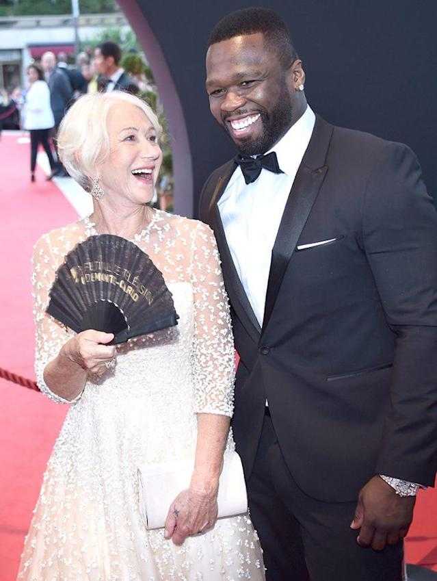 Helen Mirren and Curtis James Jackson III, aka 50 Cent, had a moment on the red carpet for the closing ceremony of the 57th annual Monte Carlo TV Festival on June 20. (Photo: Stephane Cardinale – Corbis/Corbis via Getty Images)